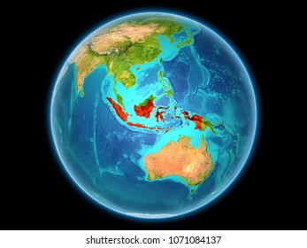 Indonesia in red on planet Earth as seen from space on full sphere. 3D illustration. Elements of this image furnished by NASA.