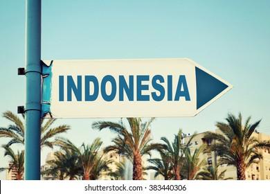 Indonesia Road Sign. Travel Destination