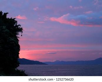 Indonesia, Sumatra island, Toba lake, Samosir island, sunset