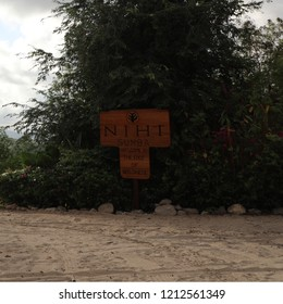 Indonesia, Sumba Island - July 19, 2018 Sign board to the Nihiwatu Beach, Sumba Island, Indonesia