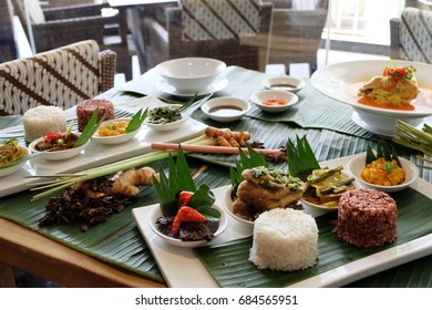 Indonesia traditional foods served completely on the table.