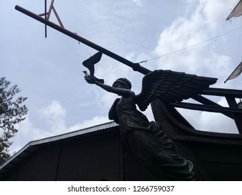 Indonesia. Yogyakarta, 22  December 2018.the statue on the Jogja Bay boat