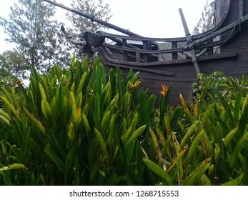 Indonesia yogyakarta,  28 December. The statue on the Jogja Bay boat