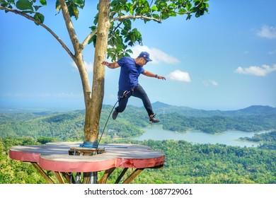 Indonesia Yogyakarta May 07 2018 - Kalibiru tourism village in manoreh hill, yogyakarta