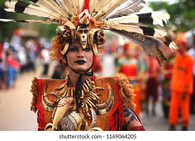 Indonesia-Kalimantan, July 2018, This is a documentary image of Man from Dayak Tribe in Borneo/Kalimantan Ethnic Festival Event