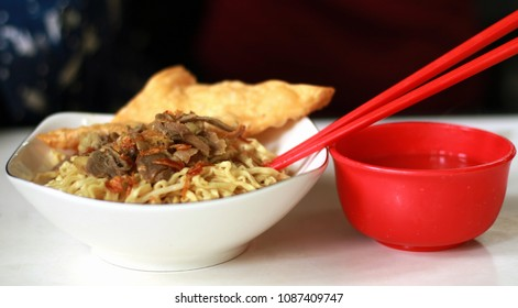 Indonesian chicken noodle or mie ayam.