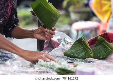 Indonesian Coconut sweets in street market, Street food concept