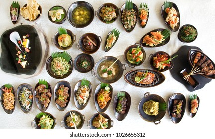 Indonesian cuisine - Many traditional Balinese dishes on the table, top view
