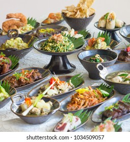 Indonesian cuisine - Many traditional Balinese dishes on the table