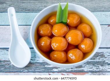 Indonesian famous dessert Biji Salak: porridge of sweet potato balls served coconut milk. Very popular during Ramadhan.