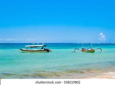 Indonesian fishing boat in the Indian ocean on the island of Bali.