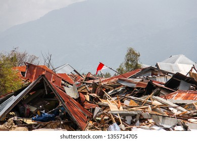 Indonesian flag at the liquefaction area