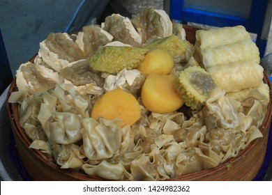 Indonesian Food Baso Tahu Siomay Bandung. Siomai are usually served with a peanut sauce.