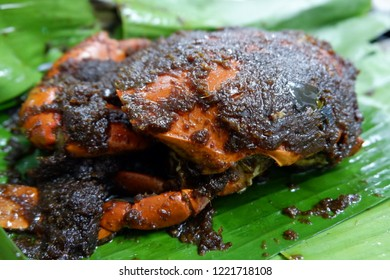 """Indonesian food called """"Kepiting Asap"""" or smoked Crab is good food with taste of the seasoning and spices. Delicious until the last pieces."""