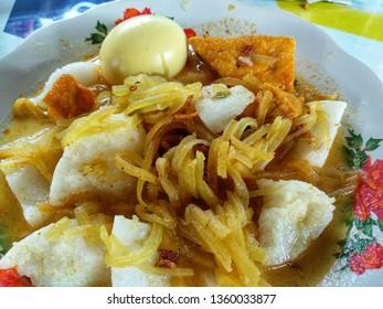 Indonesian food lontong sayur or ketupat sayur
