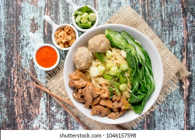 Indonesian food, mie ayam bakso, noodles with chicken and served with meatballs