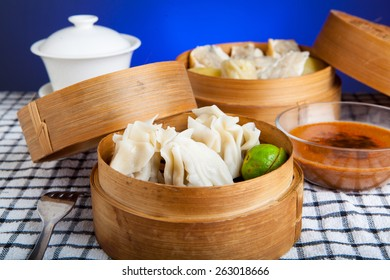 Indonesian Food Siomay Bandung with blue dark background