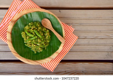 Indonesian green sambal served on banana leaf