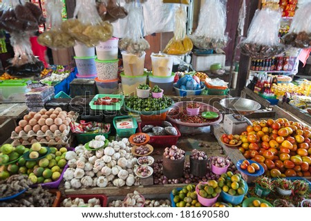 Indonesian Island Outdoor Market. Fresh fruits and vegetables are displayed in a traditional market on Banggai Island in Indonesia.