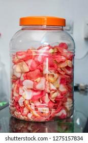 Indonesian krupuk jar in a warung
