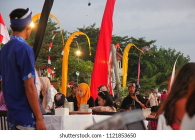 Indonesian music and romantic supper on Jimbaran beach, Bali, Indonesia on 12th August, 2014