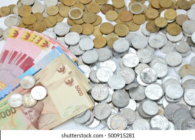 Indonesian paper and coins money background