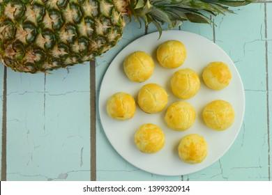 Indonesian pineapple tart cookies or Nastar served to celebrate Idul Fitri or Lebaran. Flat lay