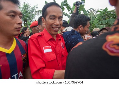Indonesian President, Joko Widodo (Jokowi) when campaigning in general elections in 2014. Photos taken in Malang City, East Java, Indonesia, March 30, 2014.