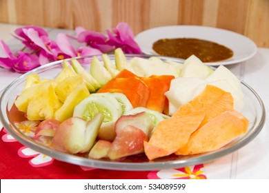 Indonesian Rujak, Indonesian Mix Fruits, served on transparent plate
