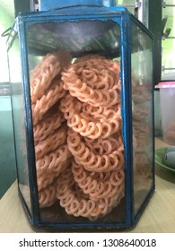 Indonesian sweet crackers in traditional glass jar, its called KRUPUK