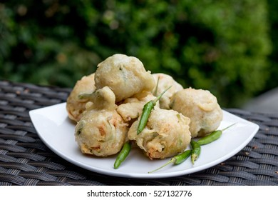 Indonesian Traditional Food Fried Tofu Filled With Vegetables(Tahu Isi) served with fresh green chili