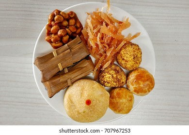 Indonesian traditional snacks, this small plate is containing snacks from Indonesian archipelago.