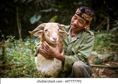 Indonesian Villager With HIs Goat
