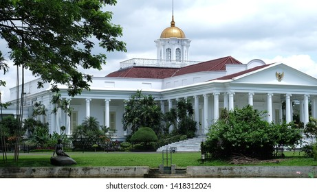 an Indonesia's Palace in Bogor West Java. White building iconic one of favorite spot for tourist.