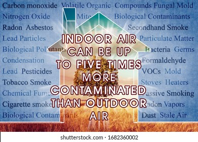 Indoor Air More Contaminated than Outdoor - concept image with the most common dangerous domestic pollutants in our homes.