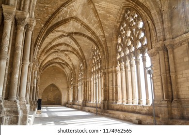 Indoor cloister in the Cathedral of St. Mary of La Seu Vella, in Lleida, Catalonia, Spain