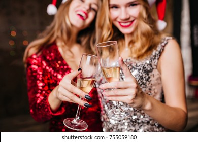 Indoor close-up photo of two winsome girls in new year hats celebrating holidays together. Portrait of funny ladies clinking glasses of champagne in christmas day.