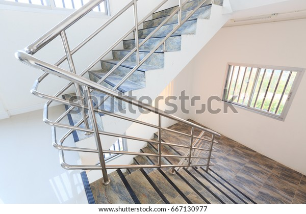 indoor Concrete Staircase With stainless steel Handrail