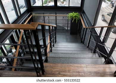 Wood handrail images stock photos vectors shutterstock indoor concrete staircase with wood handrail publicscrutiny Choice Image