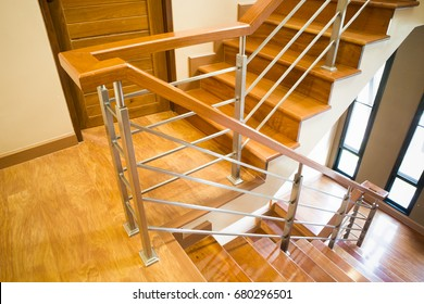 Wood handrail images stock photos vectors shutterstock indoor concrete staircase with wood handrail in the building publicscrutiny Choice Image