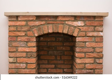 Indoor DIY project: building fireplace in the house: finishings, selective focus