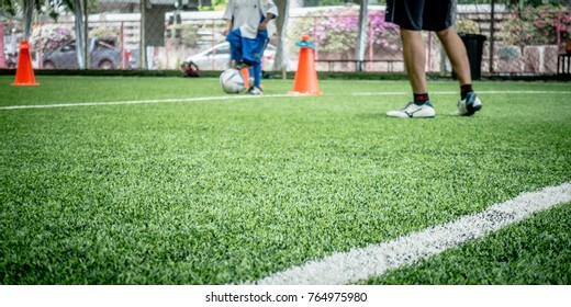 Indoor Football training field for kids blue abstract