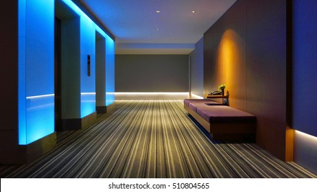Indoor hotel lobby with the strip background floor