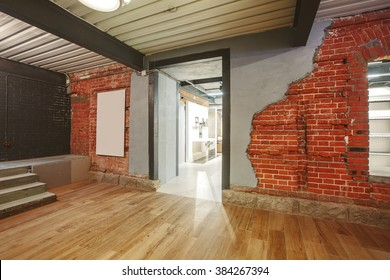 Indoor Interior: loft shop with old brick wall