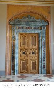 Indoor ornate door, Munich Residence, Germany, february 2017