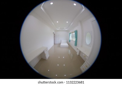 Indoor panoramic fisheye view of a little lovely pre - decorative clean & environmental bedroom on the upstairs of a private residential house