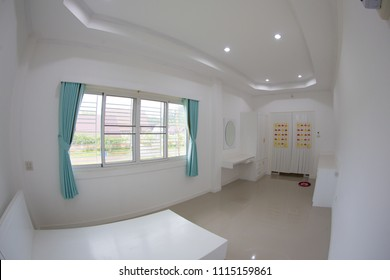 Indoor panoramic fisheye view of modern private economic pre - decorative little lovely bedroom on upstairs in a countryside house