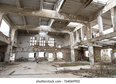 Indoor photo of an abandoned industrial building