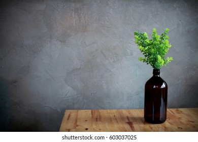 Indoor plant in bottom on wooden table and gray wall, minimal style.