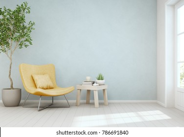 Indoor plant and coffee table on wooden floor with empty blue concrete wall background, Yellow chair near door in bright living room of modern scandinavian house - Home interior 3d illustration